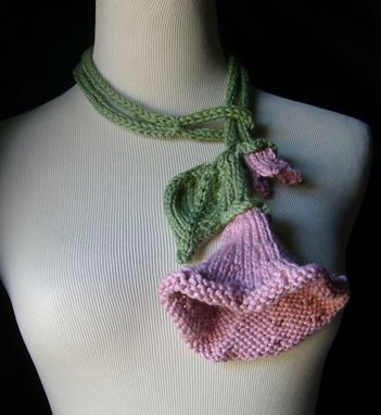 Custom Made Knit Lariat / Bloom - In Pink