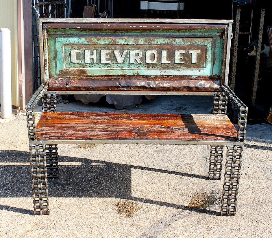 Buy A Custom Reclaimed Timber Car Part Truck Tailgate Metal Bench Outdoor Garden Furniture Made
