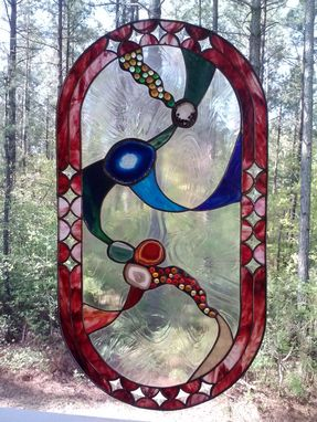 "Custom Made ""Universe"" Stained Glass Panel With Inclusion Of Natural Stones - Sold"