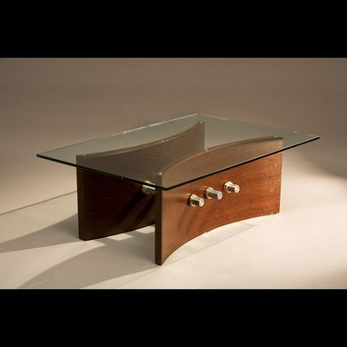 Custom Made Modern Glass Top Coffee Table With Wenge Wood, Aluminum And Brass (Pas De Deux)