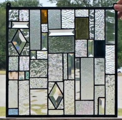 Custom Made Stained Glass Hanging Panel - Clears And Sparkle (G-11)