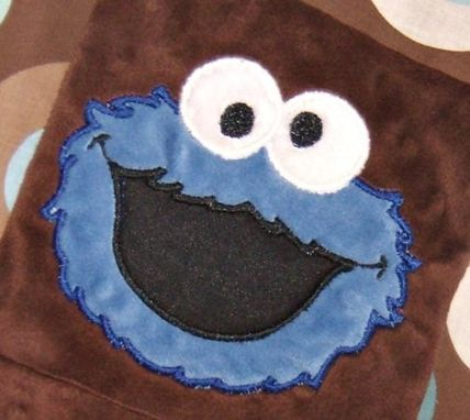 Custom Made Personalize Cookie Monster Modern Print Patchwork Baby Blanket Team