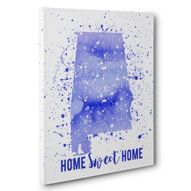 Custom Made Watercolor Paint Splatter Alabama Canvas Wall Art