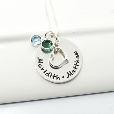 Custom Made Floating Heart Mothers Necklace With Birthstones