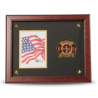 Custom Made Firefighter Medallion Picture Frame With Stars