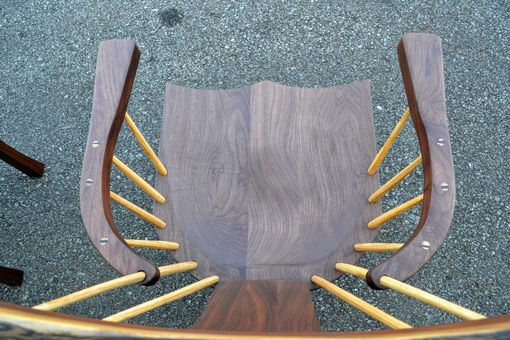 Custom Made Walnut Curved Back Spindle Armchair