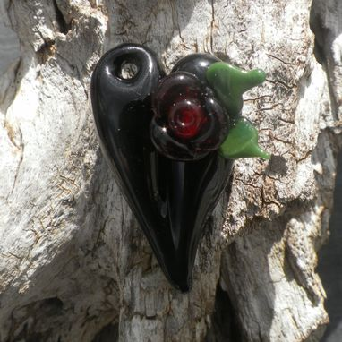 Custom Made Black Glass Heart Pendant With Glass Rose Accent