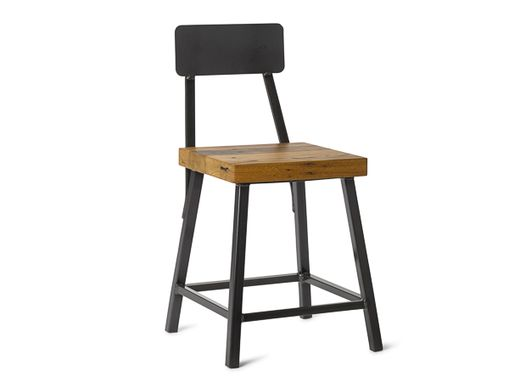 "Custom Made 18"" Square Metal Bar Stool With Back"