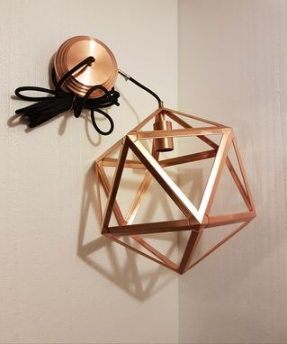 Custom Made Icosahedron Copper Pendant Light