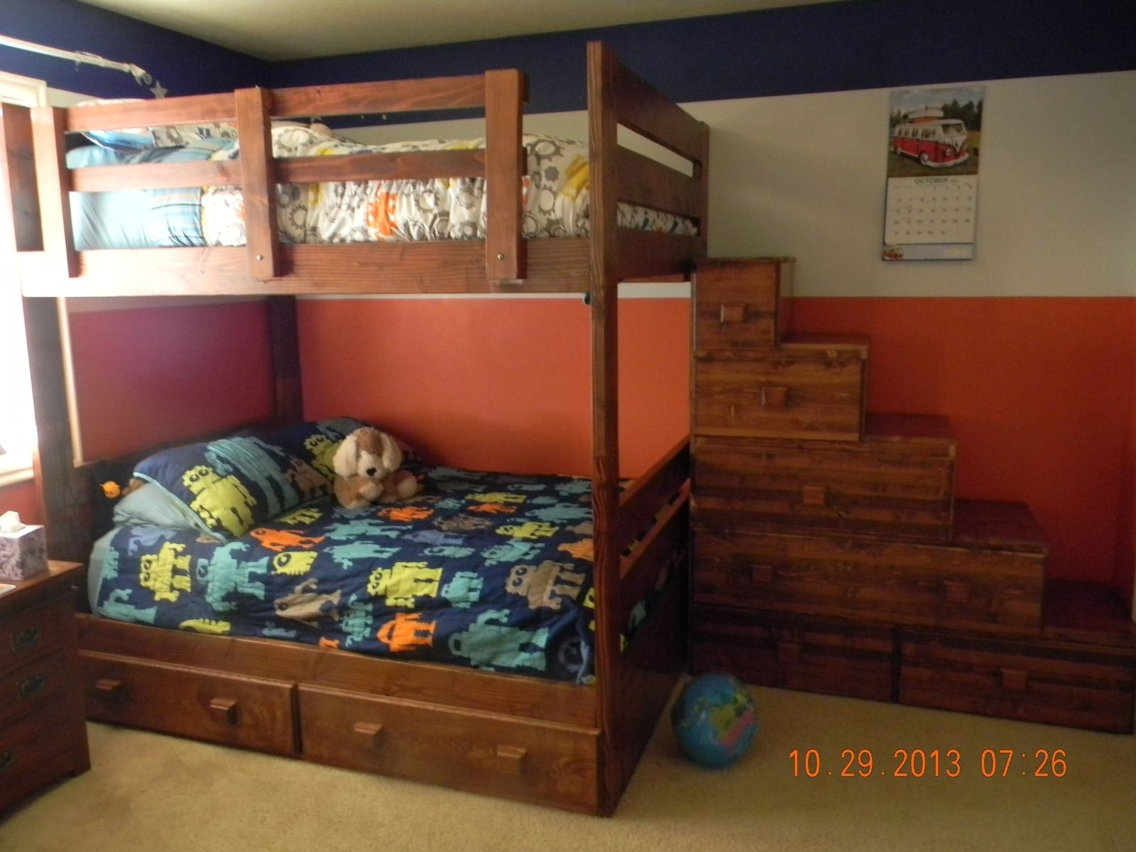 Custom full over full bunk bed with drawers and stairs by treasure valley woodcrafts - Bunkbeds with drawers ...