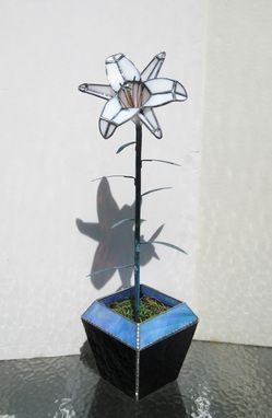 Custom Made White Madonna Lily In Stained Glass - Industrial Flower- Sculpture-Centerpiece