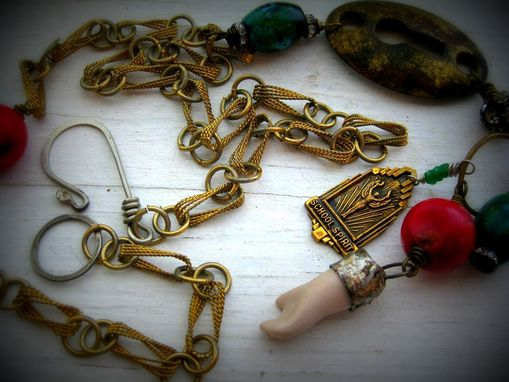 Custom Made Found Art Charm Pendant On Vintage Necklace With Coral, Emerald, And Chrysocolla Gemstones