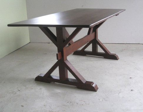 Custom Made Cross Style Trestle Dining Table
