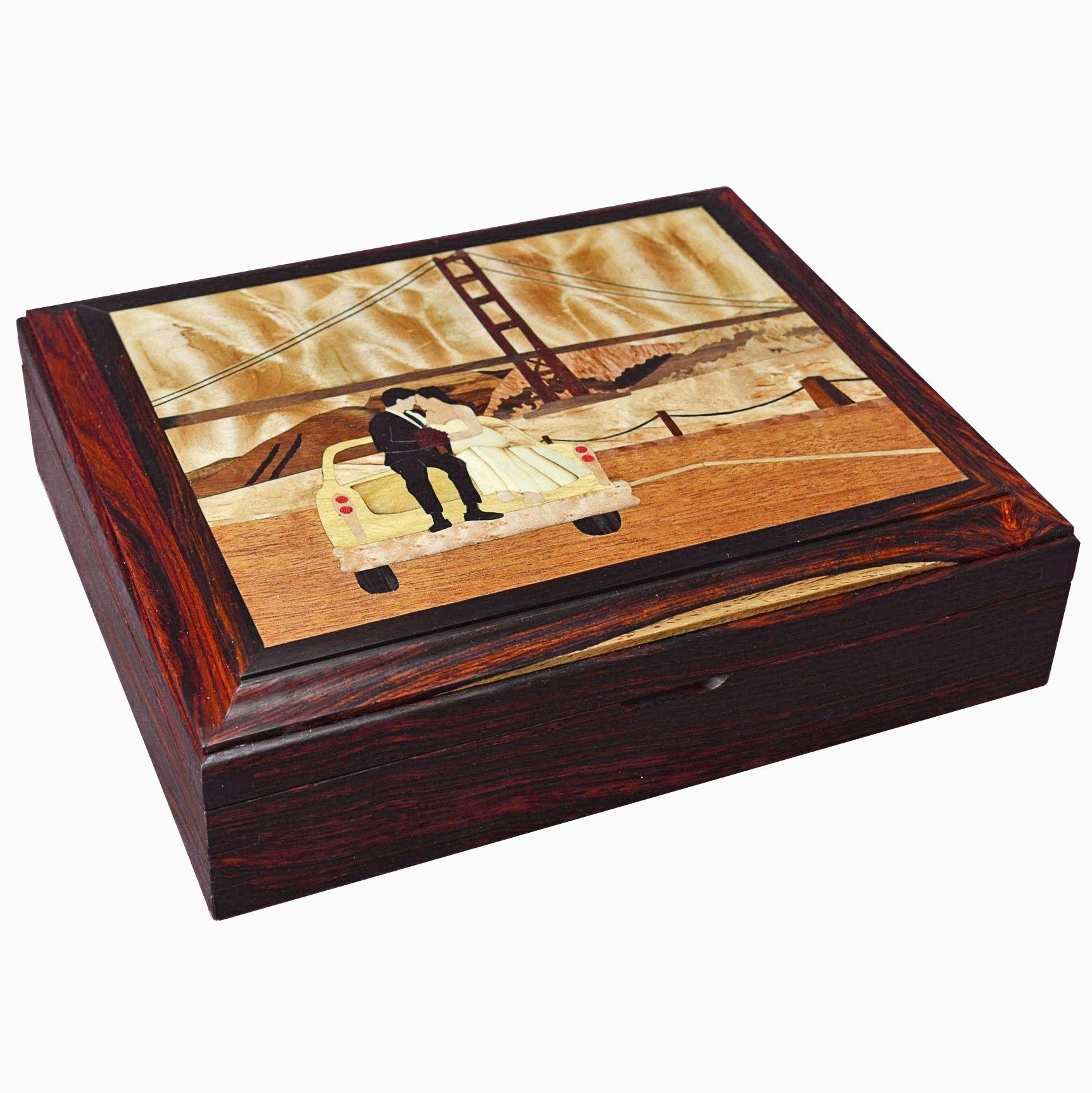 Custom Wood Inlay Keepsake Jewelry Box