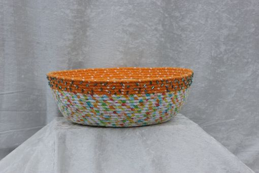 Custom Made Fabric Bowl - Fabric Art - Wrapped Clothesline - Large Round  - Home Decor - Melon, Greens