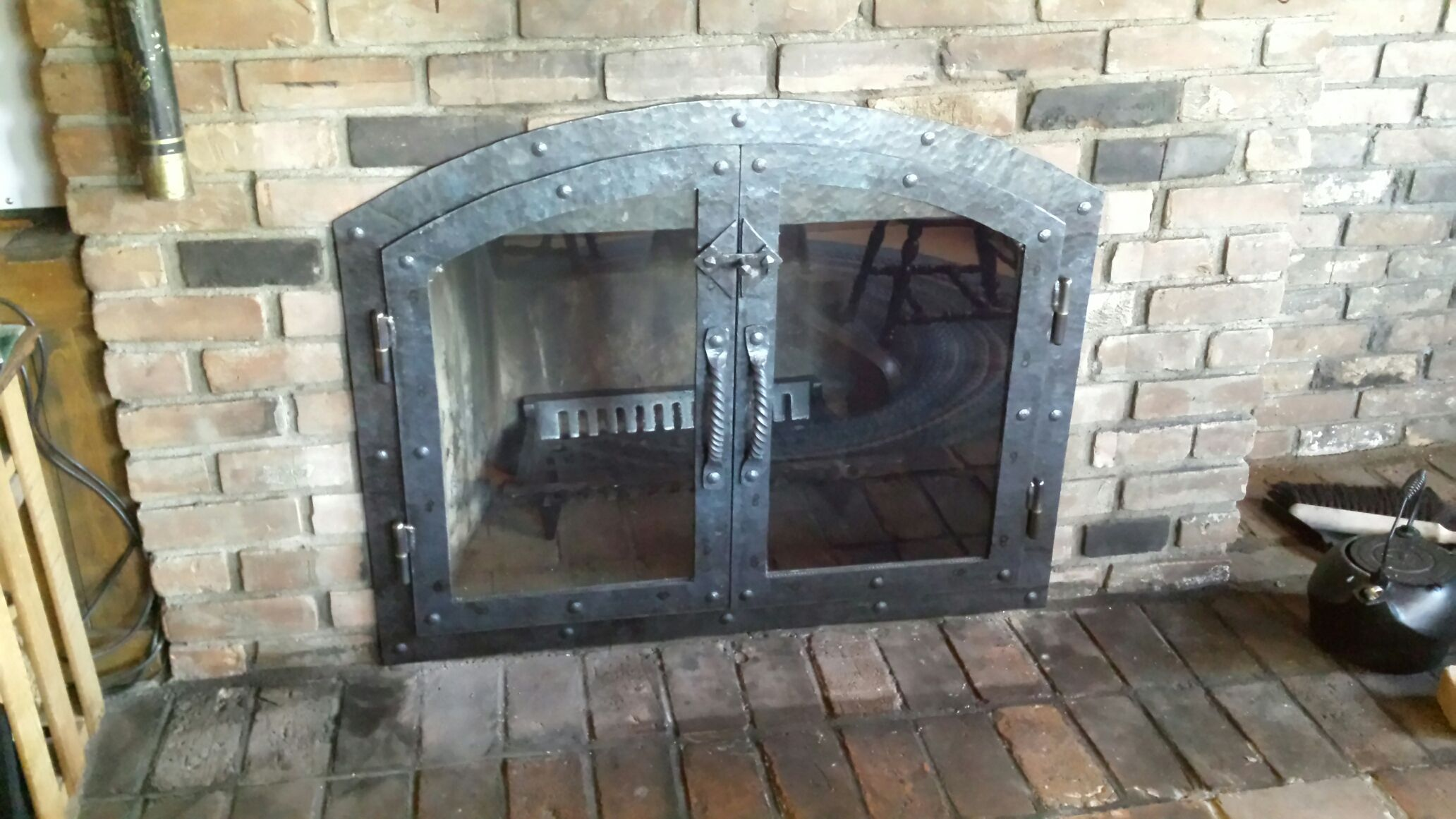 Custom Made Hammered Iron Fireplace Doors Screen Twisted Handle
