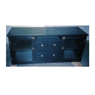 Custom Made Four-Drawer Black Entertainment Center With Distressed Look