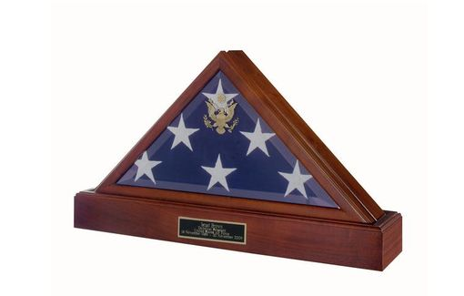 Custom Made Police Flag And Pedestal, Burial Display Case