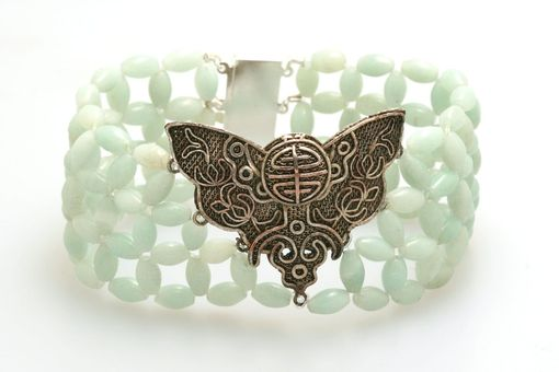 Custom Made Hand Woven Oriental Blue Amazonite Butterfly Bracelet