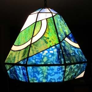 Custom Made Blue And Green Swirl Hanging Lamp