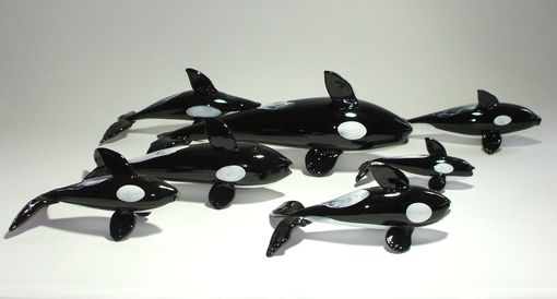 Custom Made Glass Killer Whales