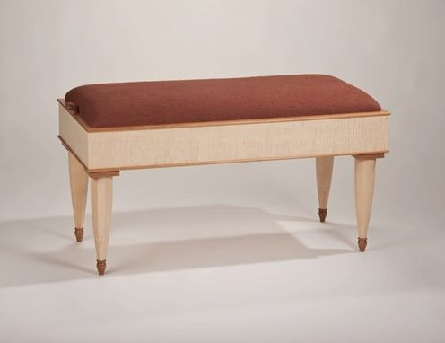 Custom Made Upholstered Cherry Maple English Sycamore Bench With Storage