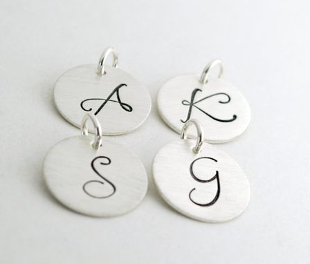 Custom Made Stamped Personalized Initial Charm Hand Stamped Sterling Silver