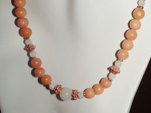 Custom Made Peach Quartz, Snow Quartz, And Rainbow Moonstone Necklace In Copper