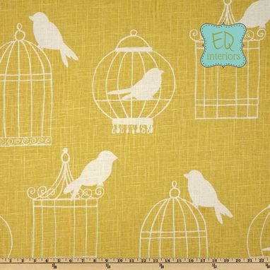 "Custom Made Custom Designer Draperies: Duralee Birdcage On Canary Linen 108""L X 50""W"
