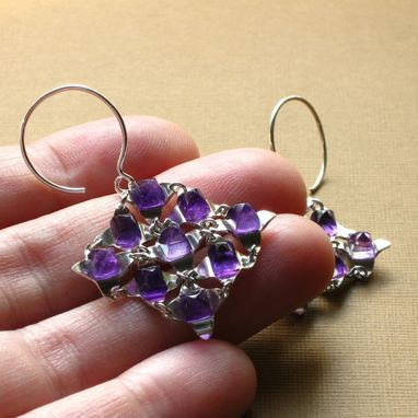 Custom Made Same Day Shipping Sterling Falling Water Earrings With Amethyst