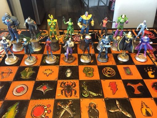 Custom Made Leather Chessboard Hero's Vs Villians