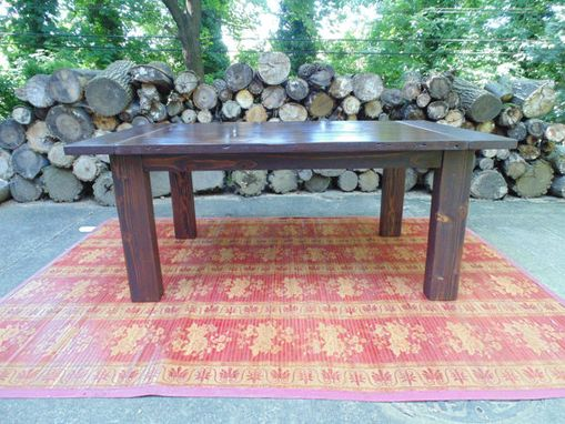 Custom Made Reclaimed Wood Chunky-Leg Parsons Style Farmhouse Table