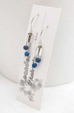 Custom Made Blue Bead And Sterling Earrings - Wooden Bead Earrings - Bead And Silver Earrings