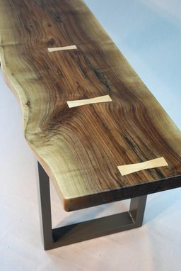 Custom Made Salvaged Black Walnut Slab Bench