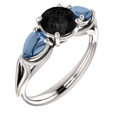 Custom Made Black Sapphire And Natural Bluish Opals In 14kt. White Gold