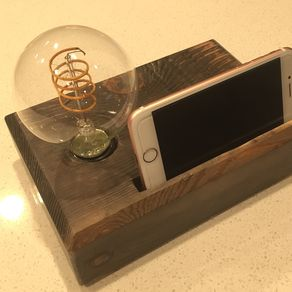 Custom lamps custommade desk lamp rustic industrial lamp handmade gift desk organizer phone dock by aloadofball Choice Image
