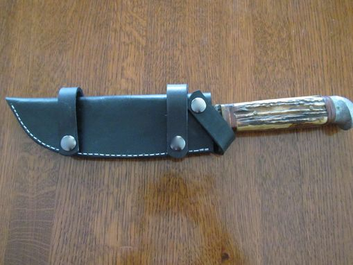 Custom Made Custom Leather Knife Sheath To Be Worn Horizontally On Belt