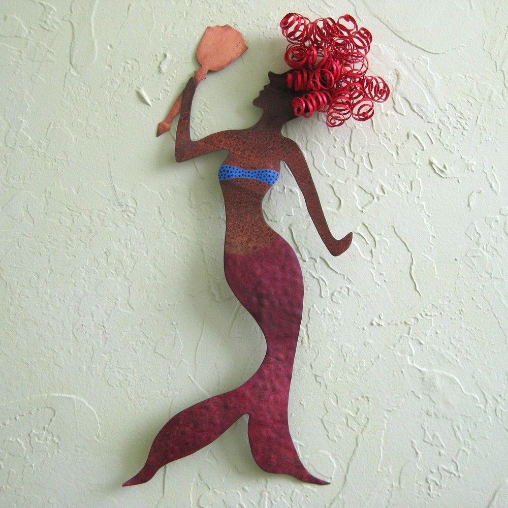 Mermaid Wall Art hand made handmade upcycled metal mermaid wall art sculpture