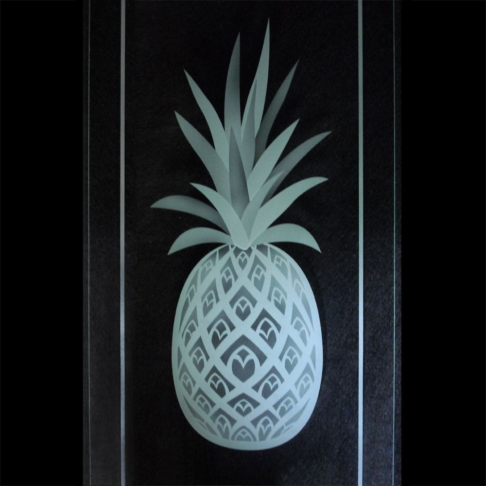 Hand Crafted Pineapple Etched Glass Kitchen Cabinet Carved Doors by ...