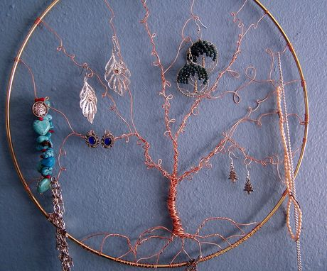 Custom Made Jewelry Display - Wall Art - Tree Of Life - Copper And Brass - Jewelry Storage