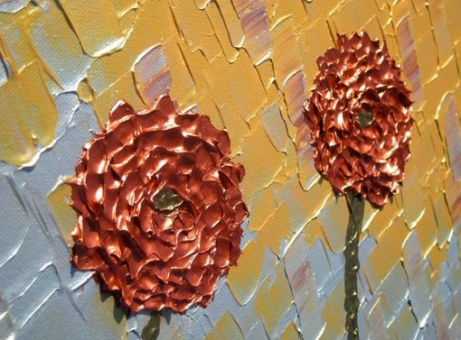 Custom Made Abstract Art Large Gold Original Red Flowers Metallic Roses Poppies Textured Knife Painting