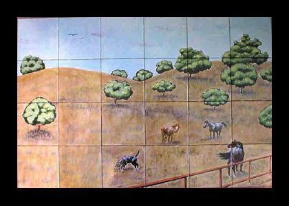 Custom Made Hand Painted Tile Mural: Golden Hills Of California-Closeup