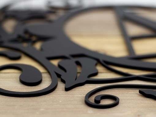 Custom Made Monogram Metal Sign, Vines - Matte Black Shown