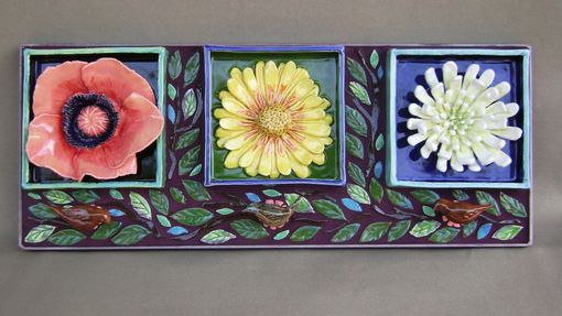 Custom Made Flower Power Mosaic Ceramic Wall Hanging