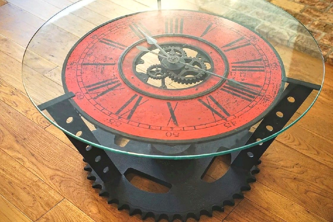Custom Made Sprocket Clock Coffee Table