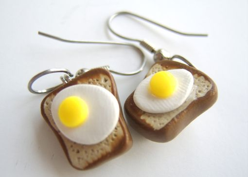 Custom Made Toast And Egg Earrings - 100% Hand-Crafted In Polymer Clay - Beautifully Packaged