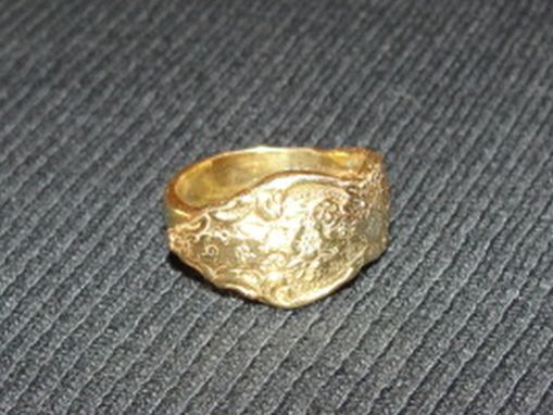 Custom Made 14 Kt Gold Vermeil Over Brass Ornate Spoon Ring