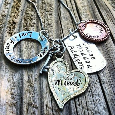Custom Made Mixed Metal Family Hand Stamped Family Keepsake Necklace