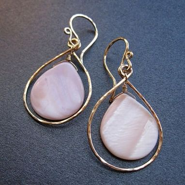 Custom Made Hammered Drop Hoop With Rosy-Pink Mother Of Pearl