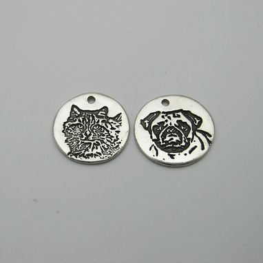 Custom Made Silver Oval Pendant Or Charm With Your Pet's Photo